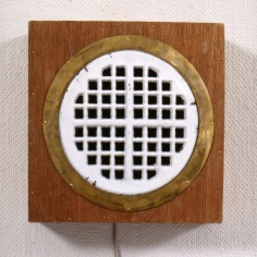 """"""" Listen"""",waste grating,plywood, copper, sounds of washing, 28 x28cm"""